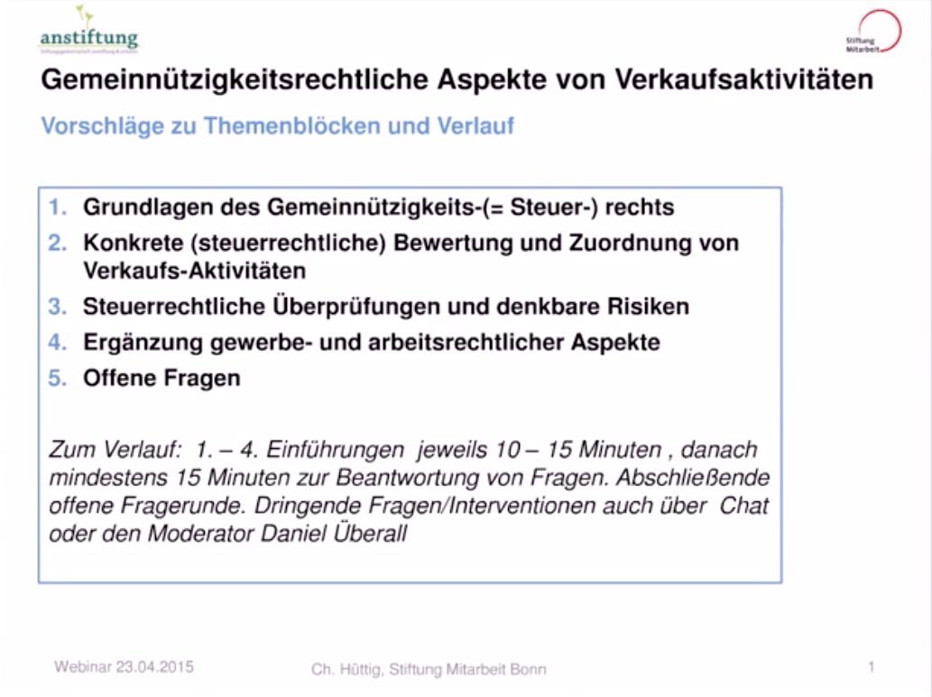 Webinar: Gemeinnützigkeitsrechtliche Aspekte von Verkaufsaktivitäten